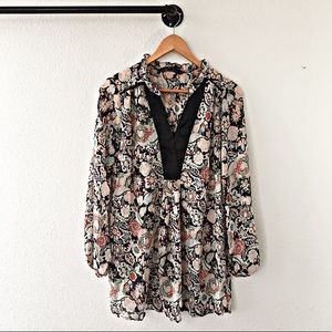 Zara Sheer Floral Blouse Womens Size S Tunic